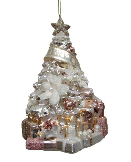 Blush Christmas Tree with Flowers Christmas Holiday Ornament Glass