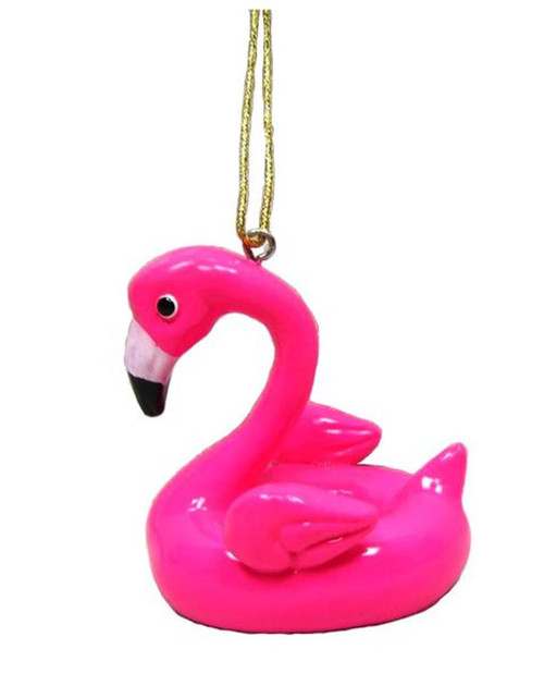 Pink Flamingo Pool Floatie Christmas Holiday Ornament Resin