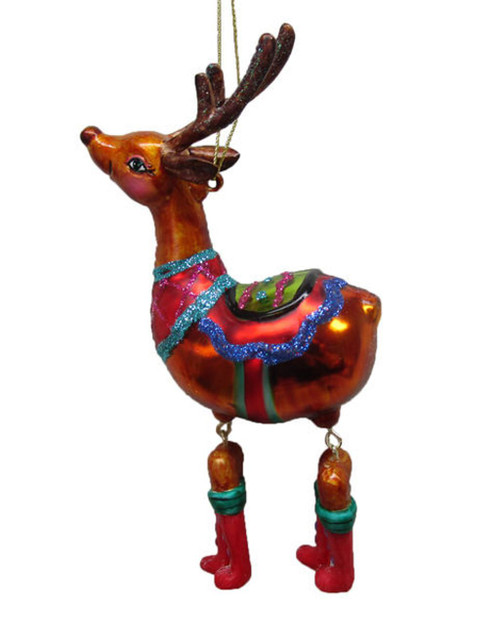 Circus Reindeer with Dangling Legs Christmas Holiday Ornament