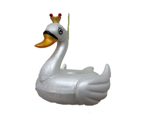 Swan With Golden Crown Pool Float Christmas Holiday Ornament Glass