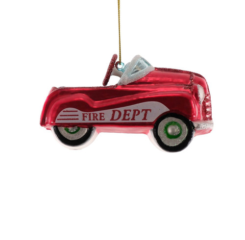 Fire Truck Red Christmas Holiday Ornament Glass 4.5 Inches