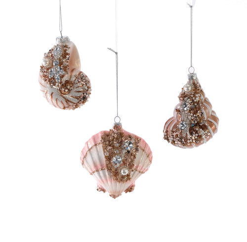 Katherines Treasures of Sea Encrusted Shell Christmas Holiday Ornaments Set of 3