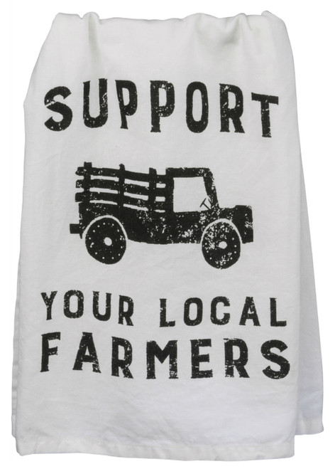 Support Your Local Farmers White with Black Printed Cotton Kitchen Dish Towel