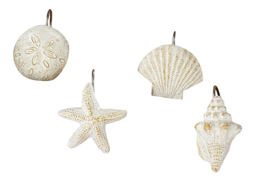 Beachy White Seashells Starfish Shower Curtain Hooks Set of 12 Bath Decor