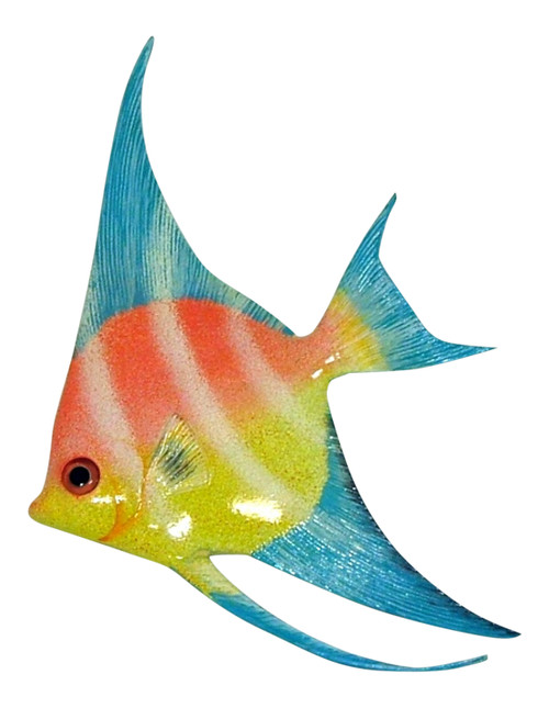 Colorful Blue Pink Angel Fish Hanger Wall Decor 12ANGW01 Resin