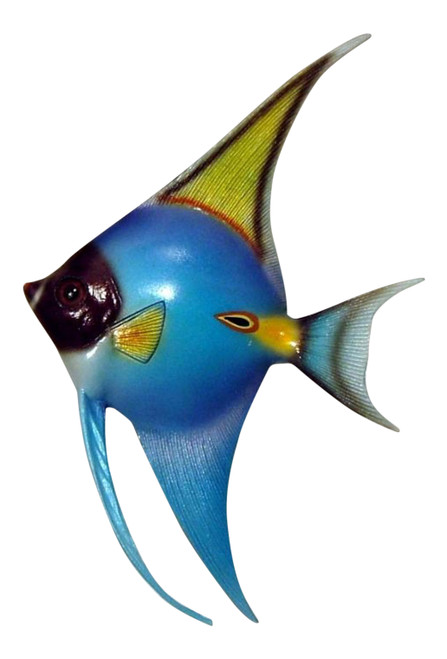 Blue and Golden Angel Fish Hanger Wall Decor 12ANGW06 Resin