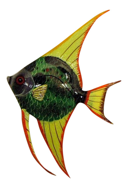 Green and Yellow Angel Fish Hanger Wall Decor 12ANGW13 Resin