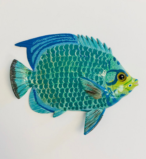 Green and Blue Tropical Fish Wall Decor 12TFW24 12 Inches Resin