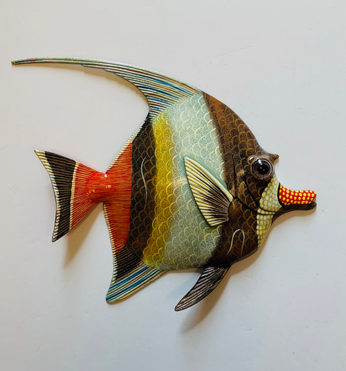 Brown Orange Yellow Fish Wall Decor 12 Inches 12ANGW08A Resin