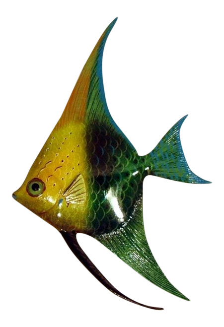 Green and Yellow Angel Fish Hanger Wall Decor 12ANGW37 Resin
