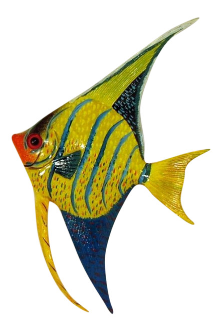 Yellow Blue Angel Fish Hanger Wall Decor 12ANGW36 Resin