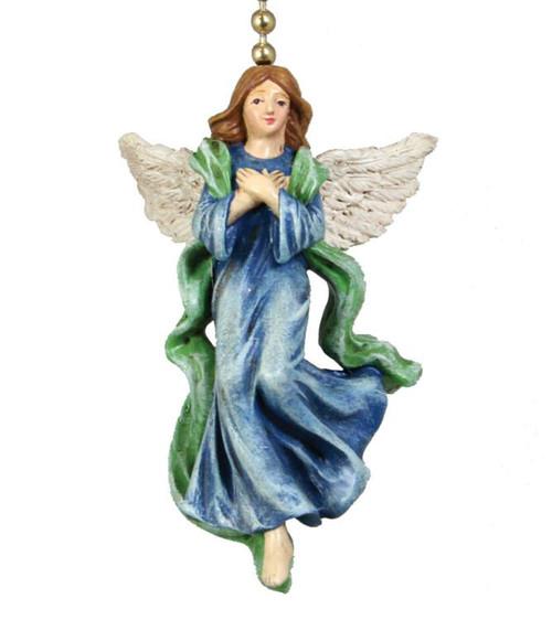 Heavenly Guardian Angel in Blue Ceiling Fan Light Pull Resin