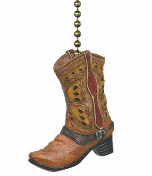 Country Cowboy Boot Ceiling Fan Pull or Light Pull Chain Dimensional Resin