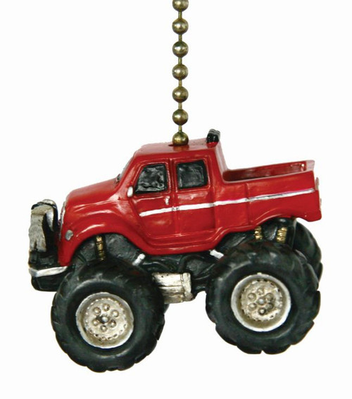 Red Monster Truck Ceiling Fan Light Dimensional Pull Resin