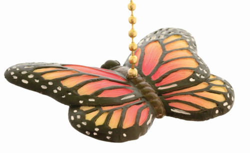 Monarch Butterfly Orange and Yellow Ceiling Fan Light Dimensional Pull Resin