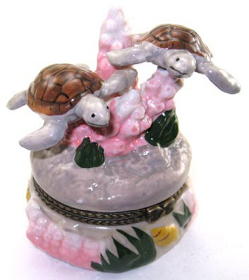 Tropical Ocean Reef Coral Sea Turtles Trinket Box