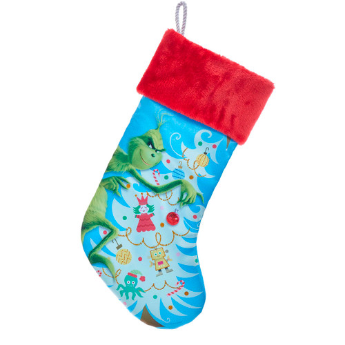 Grinch Undecorating Tree Red Cuff Christmas Holiday Stocking 19 Inches Licensed