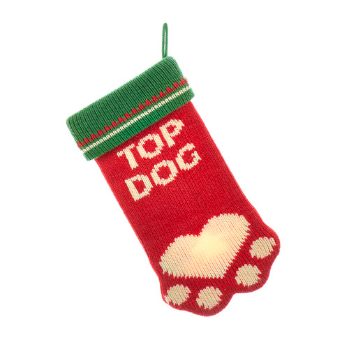 Top Dog Family Pet Knitted Christmas Holiday Stocking Red and Green