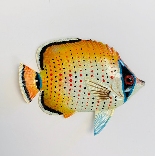 Yellow and White Tropical Fish Wall Decor 12TFW11 Two Dimensional Painted Resin