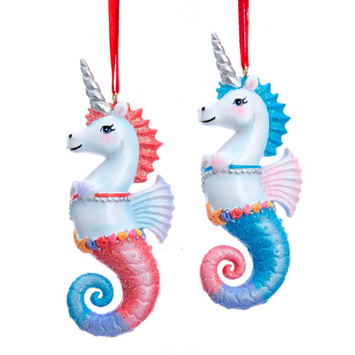Unicorn Seahorses Christmas Holiday Ornaments Set of 2 Pink and Blue