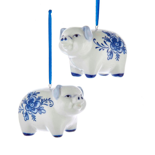 Blue and White Pig Christmas Holiday Ornaments Set of 2 Porcelain