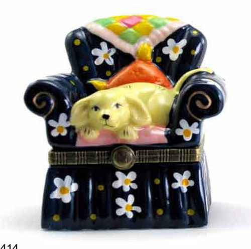 Puppy Dog Doggy on Chair Quilt Hinged Trinket Box