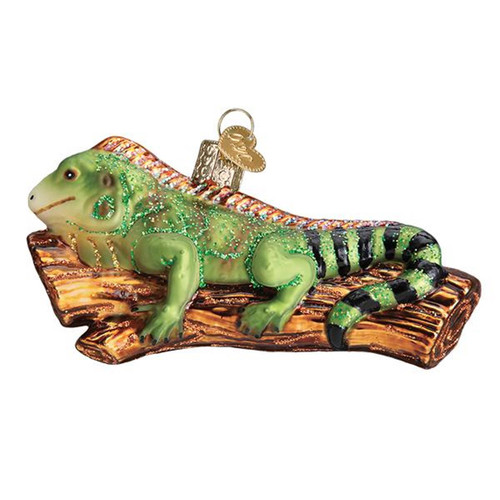 Old World Christmas Green Iguana Holiday Ornament Glass