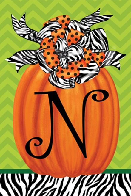 Beautiful Autumn Zebra Pumpkin Monogram N Double Sided Garden Flag