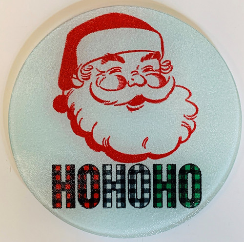 Jolly Santa Ho Ho Ho Plaid Vintage Inspired Glass Cutting Board 7.75 Inches