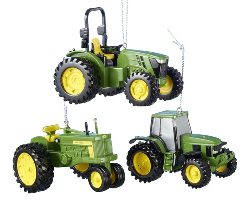 Kurt Adler John Deere Tractors Official Licensed Holiday Ornaments Set of 3