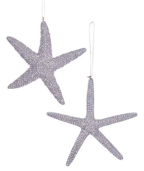 Kurt Adler Silver Glittered Starfish Holiday Ornaments Set of 2