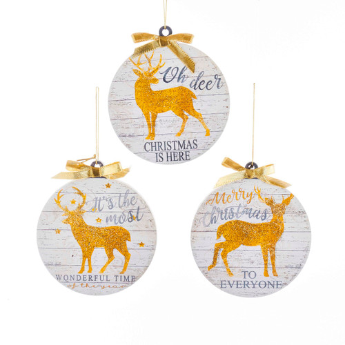 Golden Deer Round Christmas Holiday Ornaments Set of 3 Wood 4 Inches