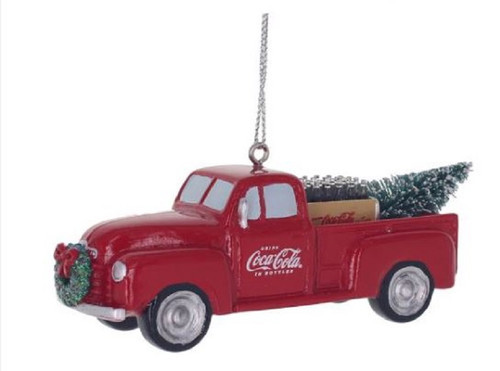 Coca-Cola Red Pickup Truck Christmas Holiday Licensed Ornament Resin
