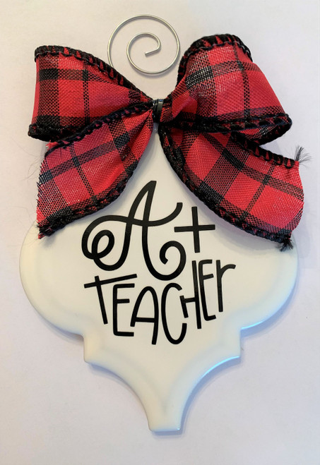 A Plus Teacher Buffalo Plaid Christmas Holiday Ornament Porcelain