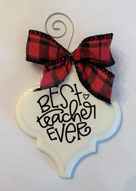 Best Teacher Ever Buffalo Plaid Christmas Holiday Ornament Porcelain