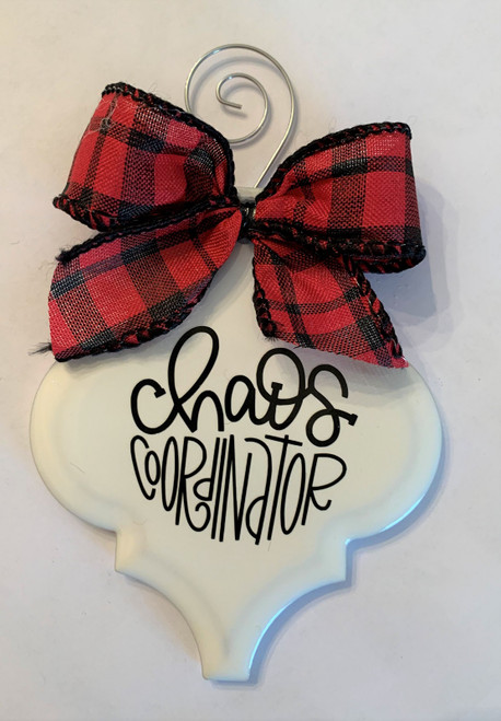 Chaos Coordinator Buffalo Plaid Christmas Holiday Ornament Porcelain