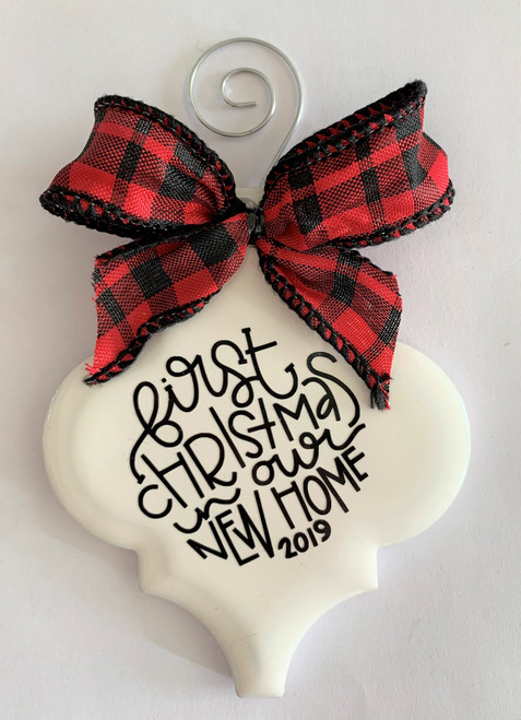 First Christmas In Our New Home 2019 Buffalo Plaid Holiday Ornament Porcelain