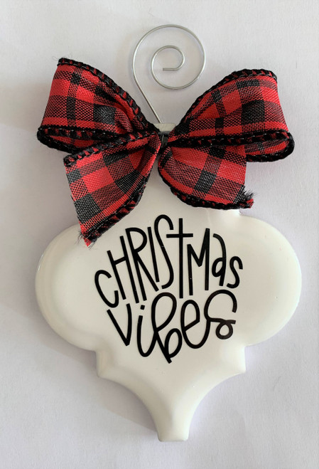 Christmas Vibes Buffalo Plaid Holiday Ornament Porcelain