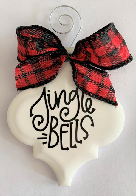 Jingle Bells Buffalo Plaid Christmas Holiday Ornament Porcelain