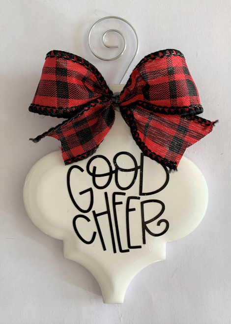 Good Cheer Buffalo Plaid Christmas Holiday Ornament Porcelain