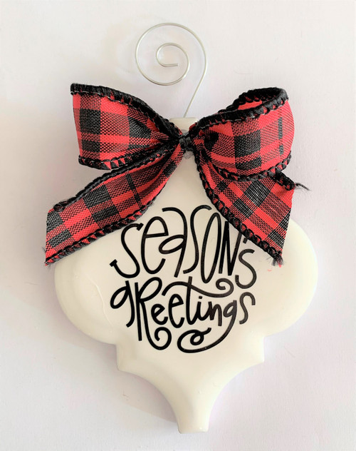 Seasons Greetings Buffalo Plaid Christmas Holiday Ornament Porcelain