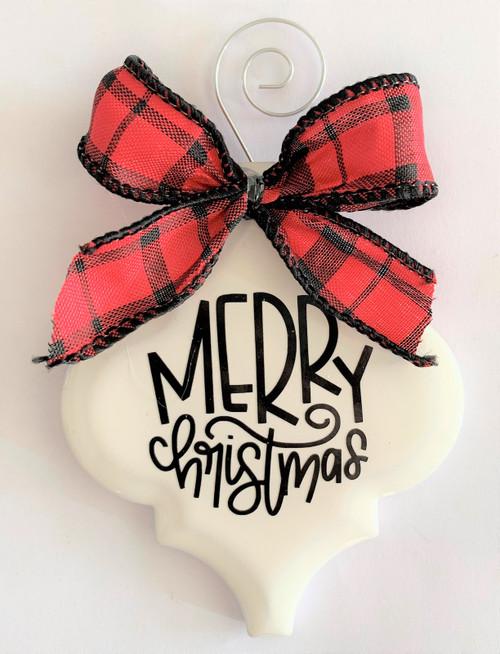 Merry Christmas Buffalo Plaid Holiday Ornament Porcelain