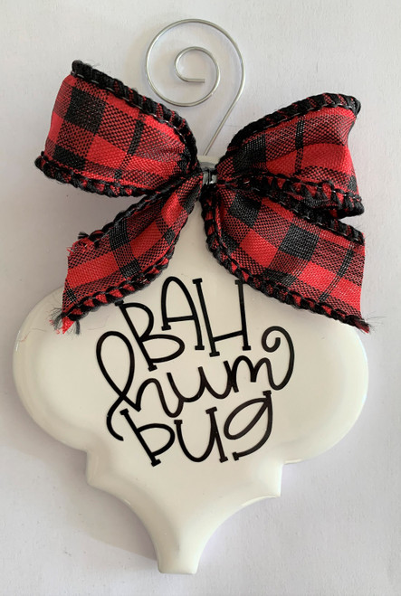 Bah Humbug Christmas Holiday Buffalo Plaid Holiday Ornament Porcelain