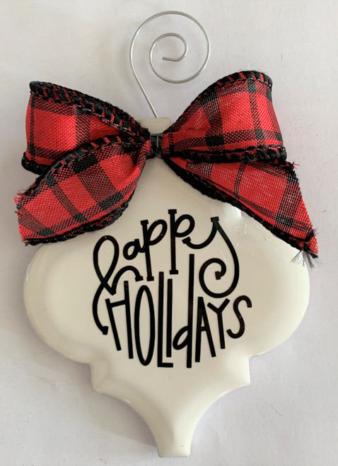 Happy Holidays Buffalo Plaid Christmas Holiday Ornament Porcelain