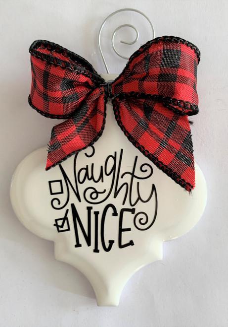 Naughty or Nice Christmas Holiday Buffalo Plaid Holiday Ornament Porcelain