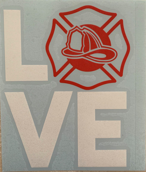 Fireman Love Vinyl Decal Sticker Car Window 5.5 Inch Laptop Flat Surface