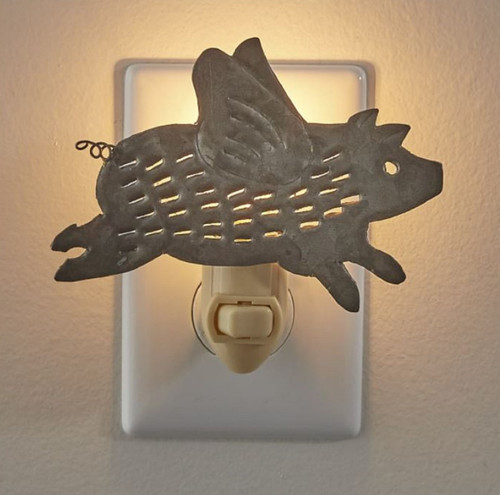 Flying Pig Distressed Galvanized Metal Electric Night Light