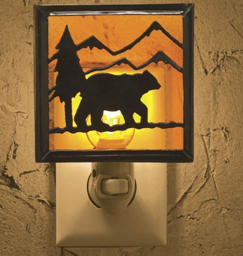 Bear and Mountains Silhouette Lodge Metal and Glass Electric Night Light