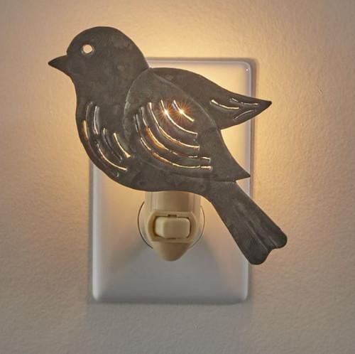Bird Shape Distressed Galvanized Laser Cut Metal Electric Night Light