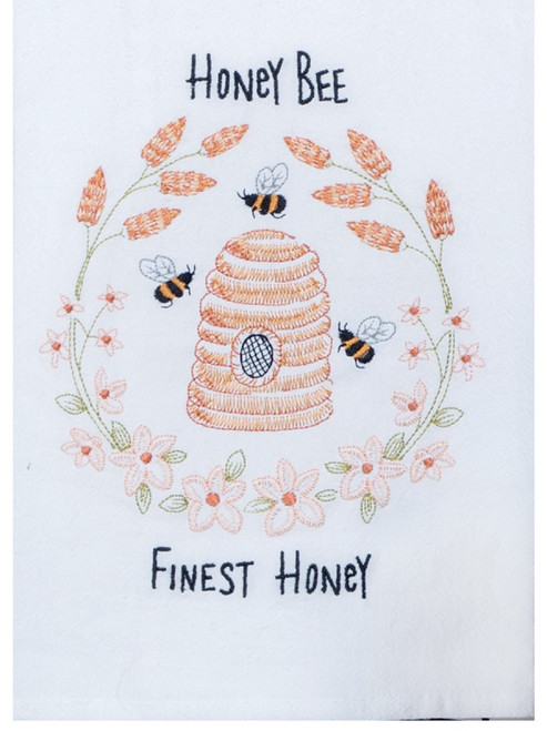 Honey Bee Finest Honey Embroidered Krinkle Flour Sack Cotton Kitchen Towel